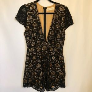 American Threads Lined Black Lace Romper Size M